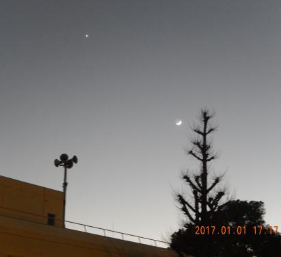 元日の夕方に空を見上げて・・・