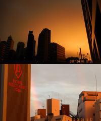 西に夕焼け、東に虹が3本!