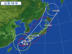台風18号接近中